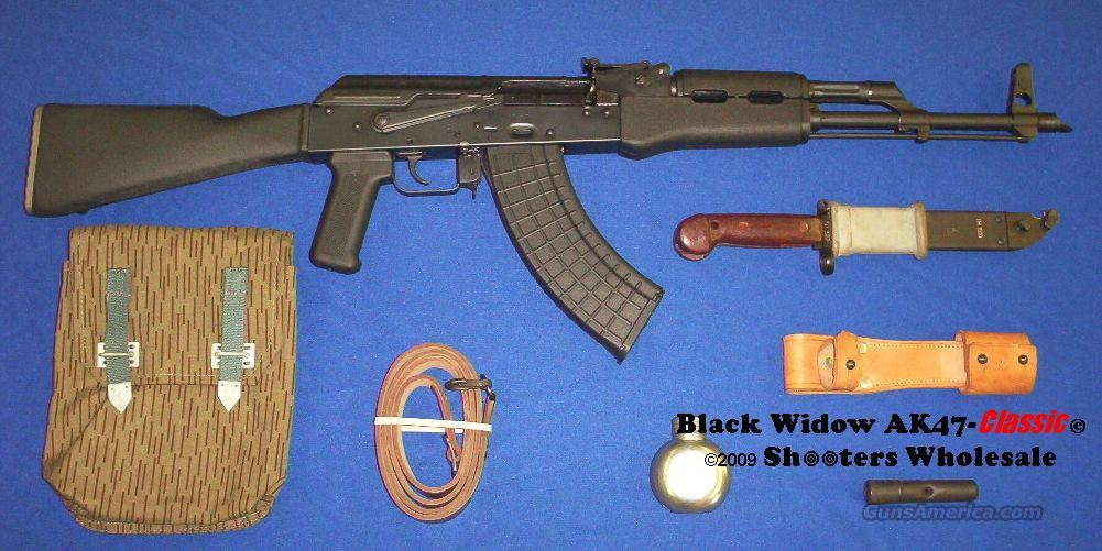 Black Widow AK47-Classic© Rifle Package! POLYMER STOCK SET+HOT BLUED SATIN BLACK METAL FINISH+CHROME LINED BORE+ORIGINAL BAYONET LUG & SLANT MUZZLE BREAK+CUSTOM G2 TRIGGER+BAYONET+BATTLE PACK+TUBE CLEANING KIT+METAL OILER+LEATHER SLING!   Guns > Rifles > AK-47 Rifles (and copies) > Full Stock
