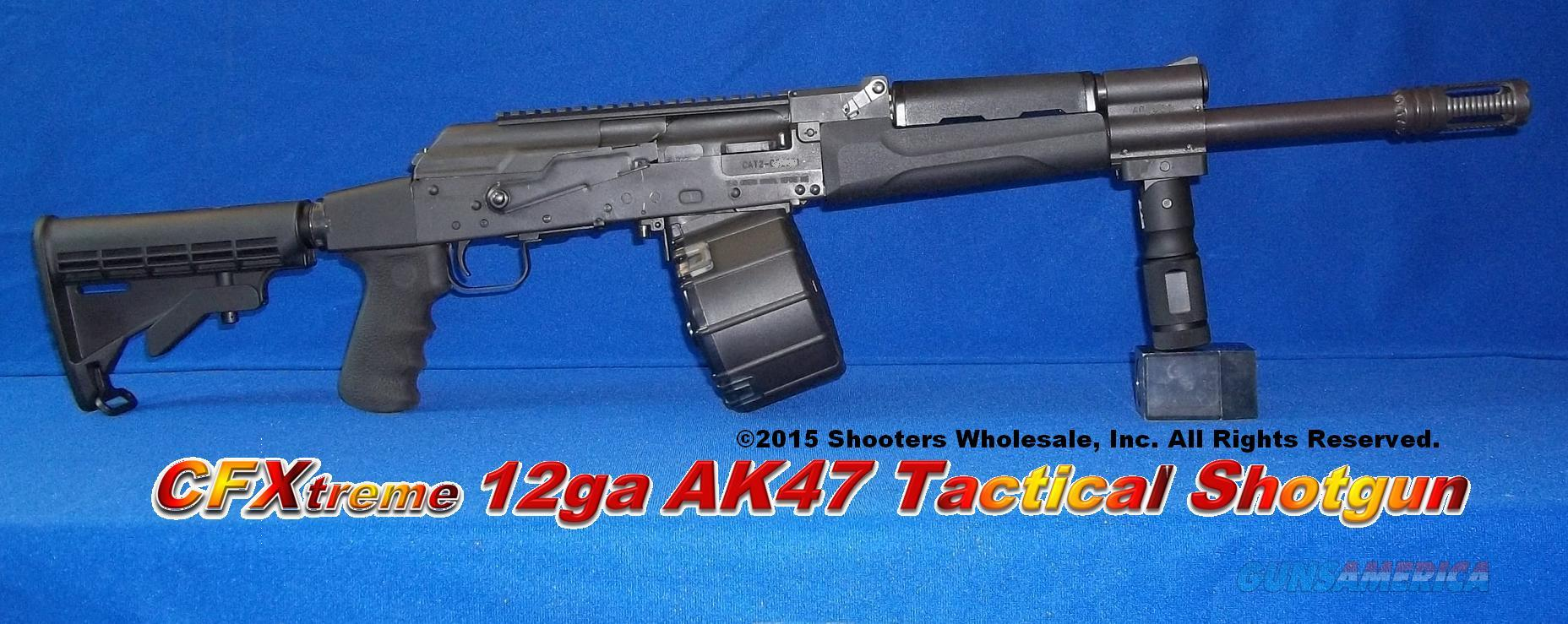 CF Xtreme AK47 12 Ga Tactical Shotgun-Accepts custom Saiga 12 style drums & mags! Shortest Barrel Length of 18 1/4 inches+Phantom Flash Hider / Muzzle Break+collapsible stock+Houge pistol grip+Promag 12rd drum+folding Aluminum vertical grip  Guns > Shotguns > Saiga Shotguns > Shotguns