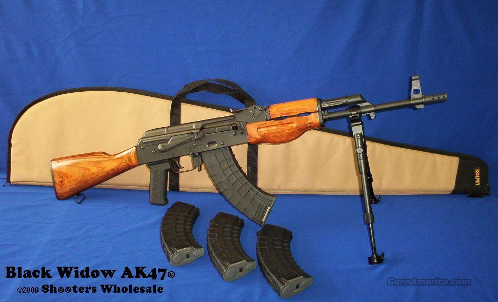 Black Widow AK47© CUSTOM WOOD STOCK! HAND CRAFTED WOOD STOCK+FOUR 30RD POLYMER MAGS+KOLPIN GUN CASE+DRAGON CLAW BIPOD+RPK STYLE MUZZLE BREAK+MORE!  Guns > Rifles > AK-47 Rifles (and copies) > Full Stock