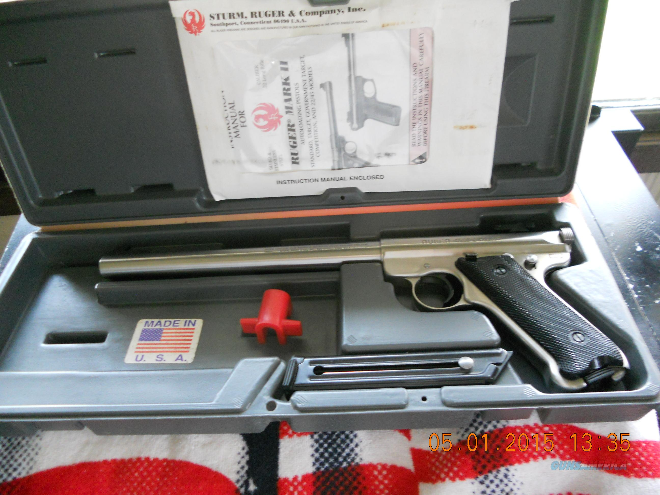 "RUGER MARK 2 TARGET  SS 10"" WITH BOX.  Guns > Pistols > Ruger Semi-Auto Pistols > Mark I & II Family"