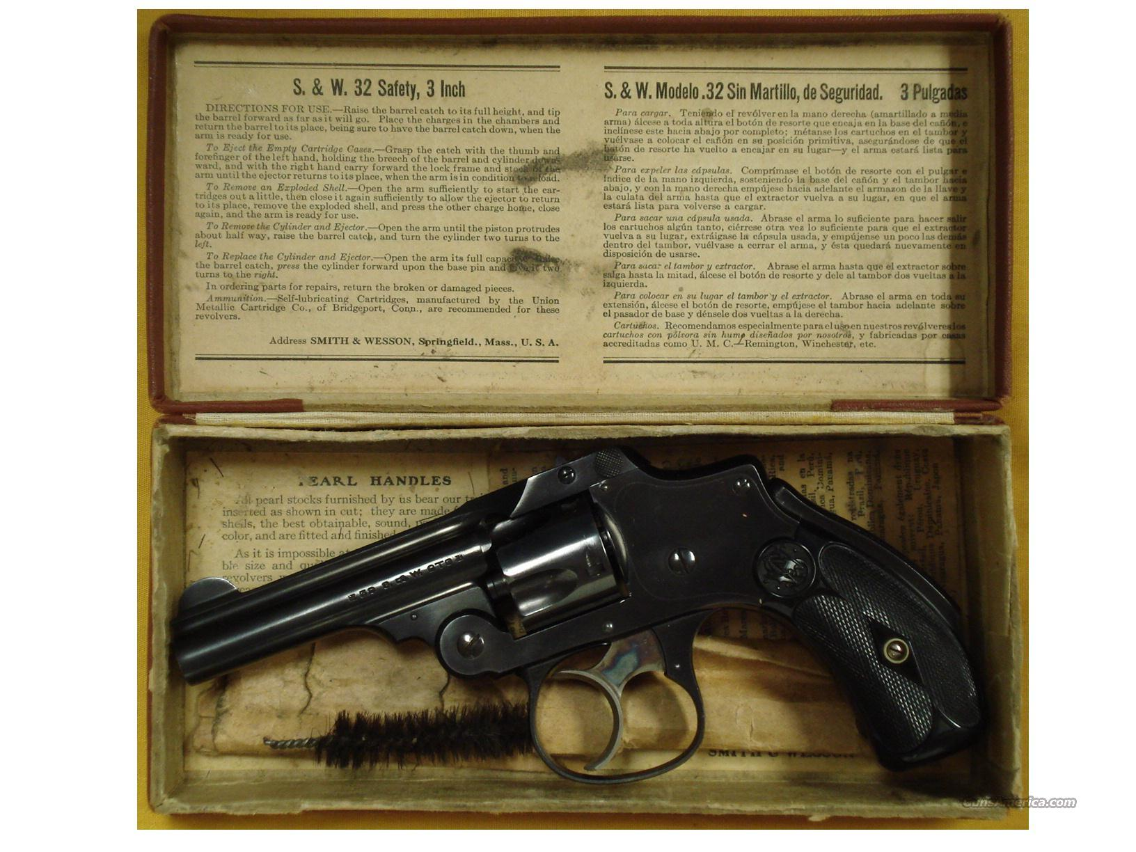 "S&W SAFETY HAMMERLESS .32 3""BBL  Guns > Pistols > Smith & Wesson Revolvers > Pre-1945"