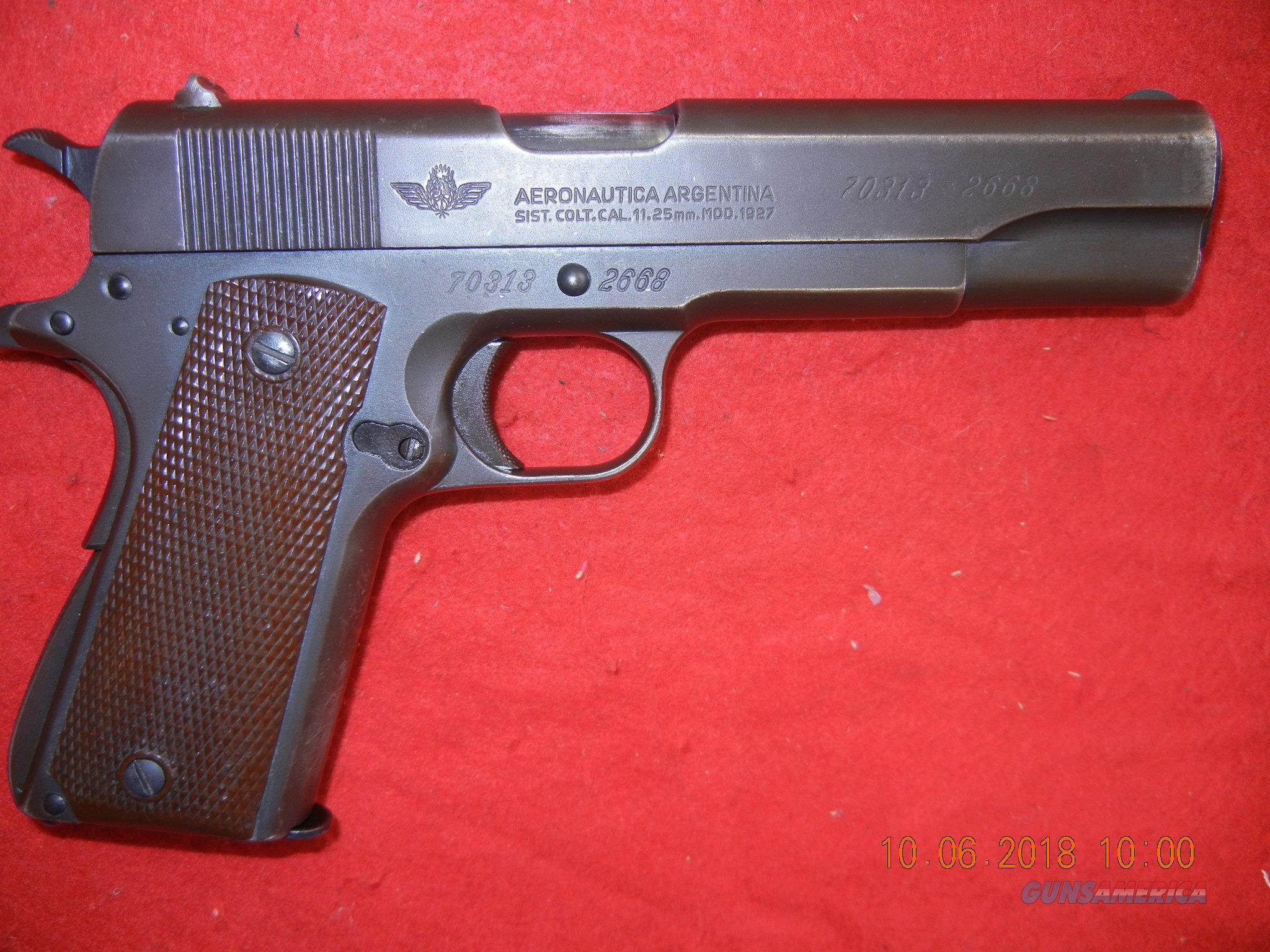 COLT AERONAUTICA ARGENTINA MOD 1927  Guns > Pistols > Colt Automatic Pistols (1911 & Var)