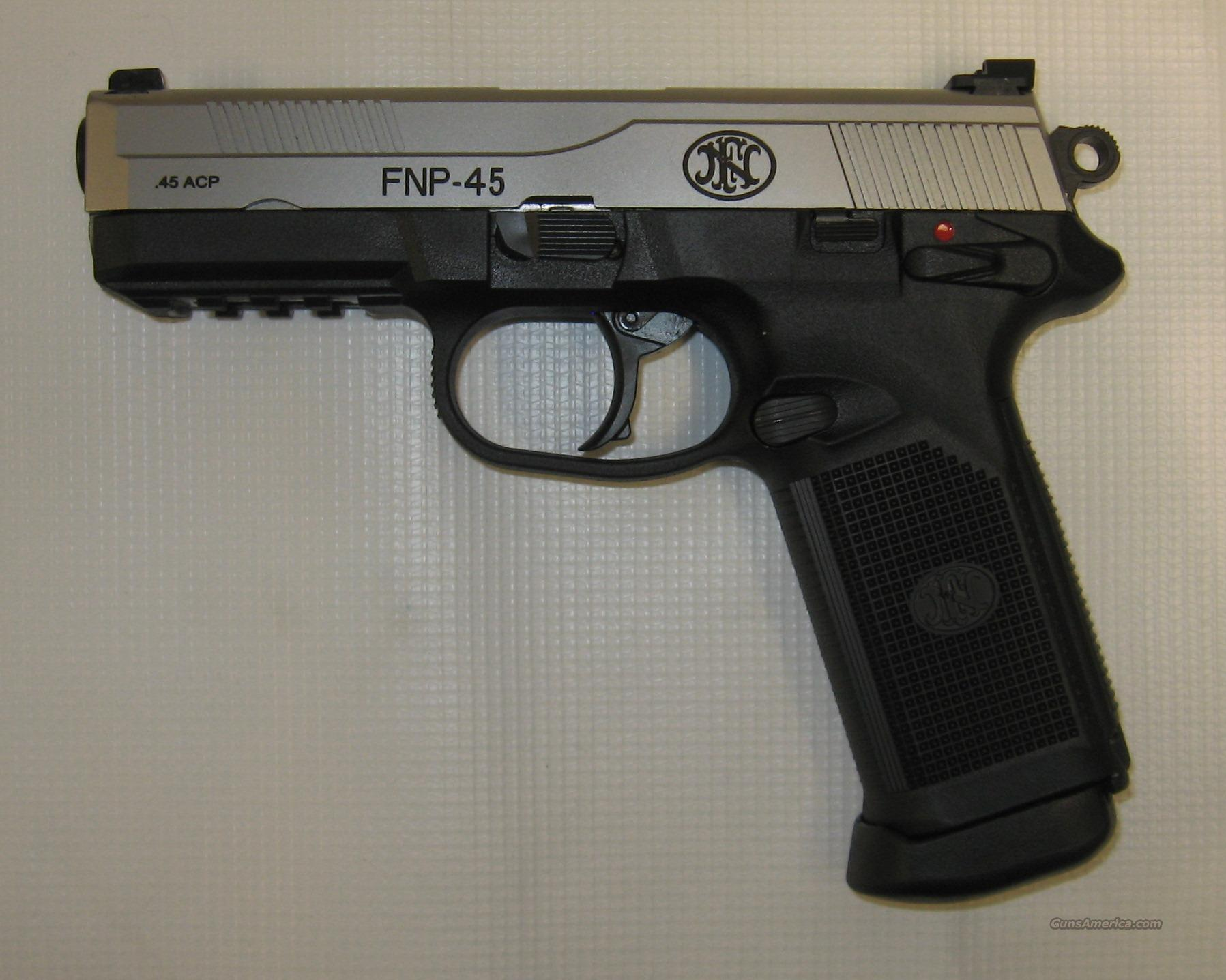 FNH FNP-45 Stainless w/ Nightsights  Guns > Pistols > FNH - Fabrique Nationale (FN) Pistols > FNP