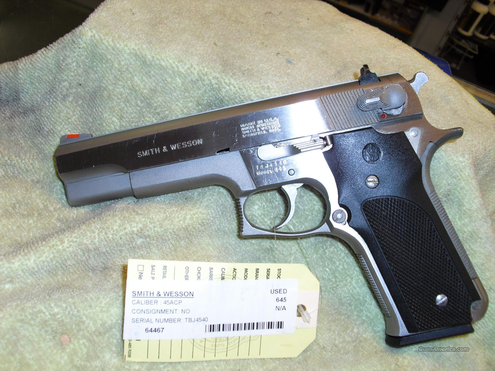 64467  S&W 645  Stainless .45 ACP  Guns > Pistols > Smith & Wesson Pistols - Autos > Steel Frame
