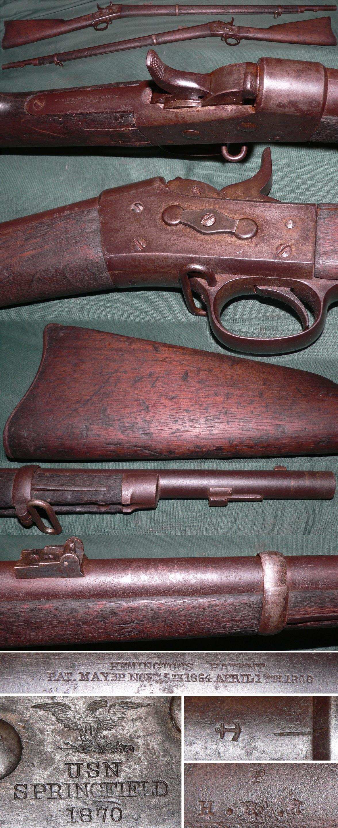 M1870 USN Springfield rolling block rifle  Guns > Rifles > Antique (Pre-1899) Rifles - Ctg. Misc.