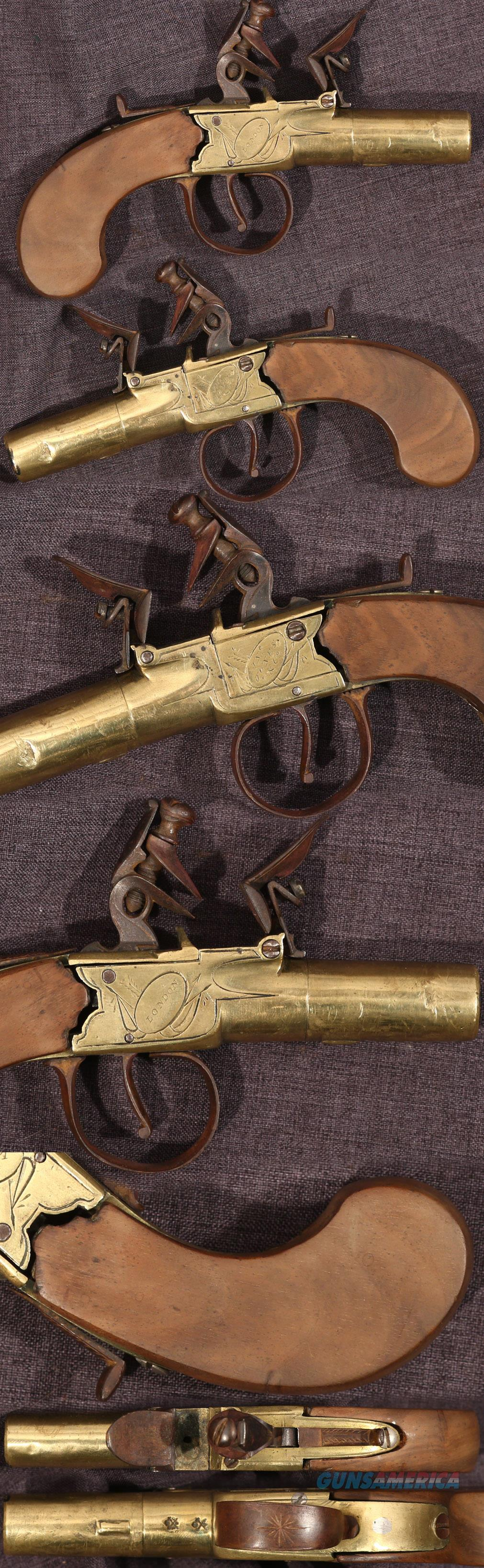 Jones & Co brass flintlock boxlock pistol  Guns > Pistols > Muzzleloading Pre-1899 Pistols (flint)