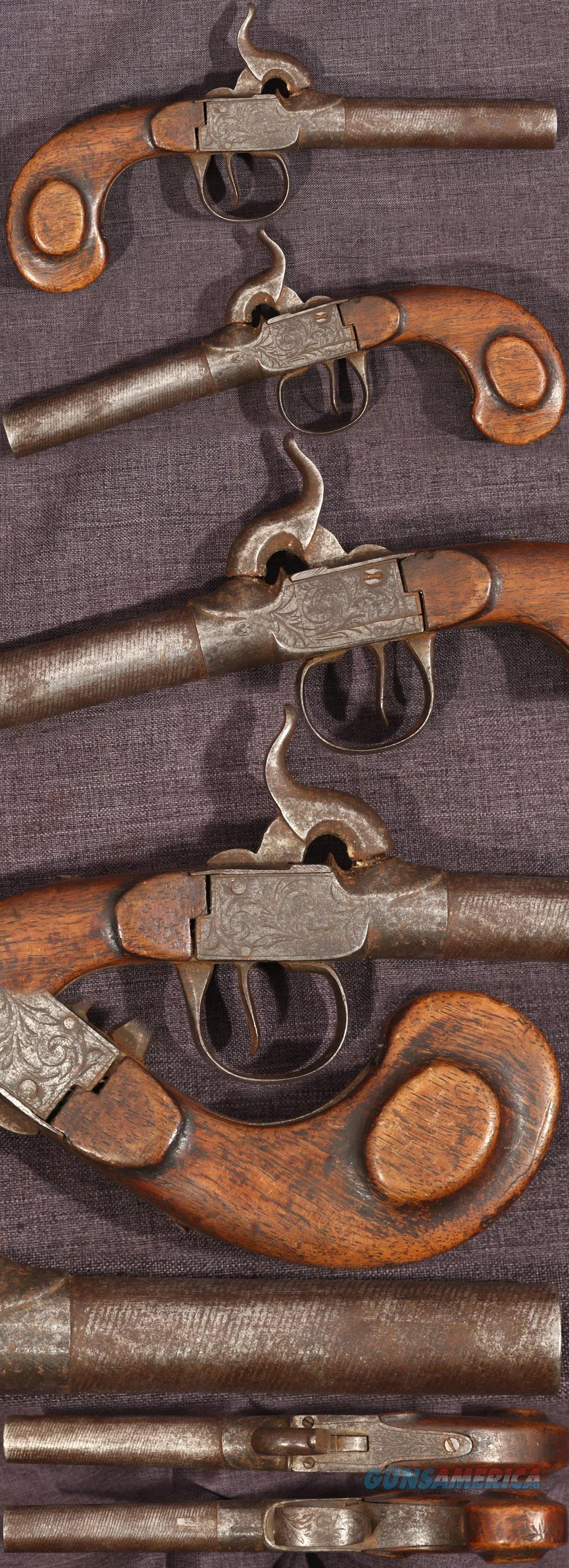 Belgian percussion boxlock pistol with striped barrel  Guns > Pistols > Muzzleloading Pre-1899 Pistols (perc)