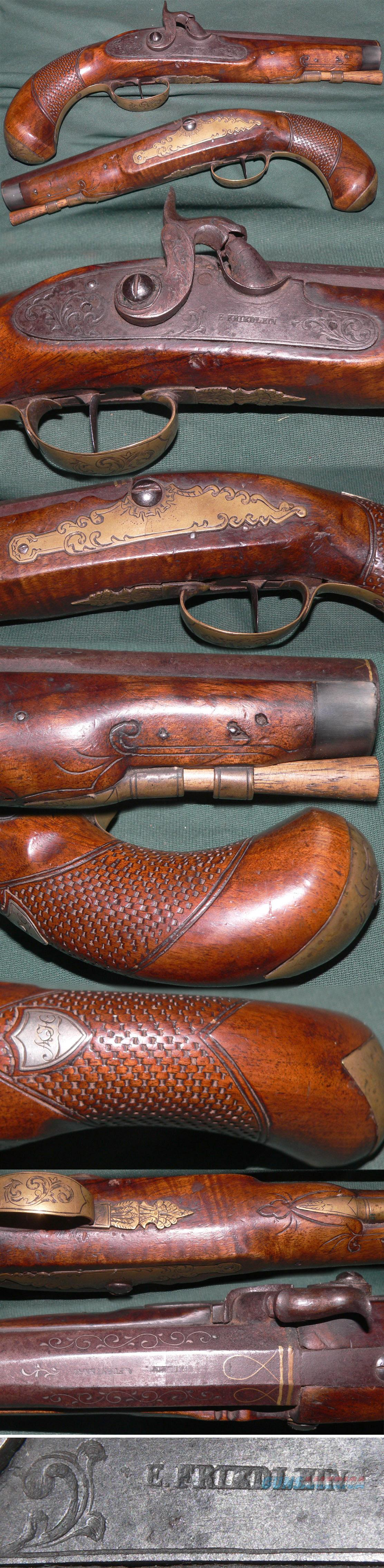 "Percussion European belt pistol marked on lock ""E.FRIEDLEIN"".  Guns > Pistols > Muzzleloading Pre-1899 Pistols (perc)"