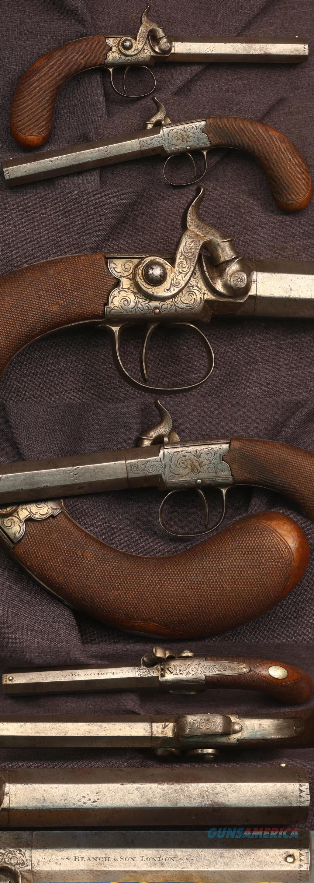 fancy Blanch & Son London Sidehammer box lock percussion belt pistol  Guns > Pistols > Muzzleloading Pre-1899 Pistols (perc)