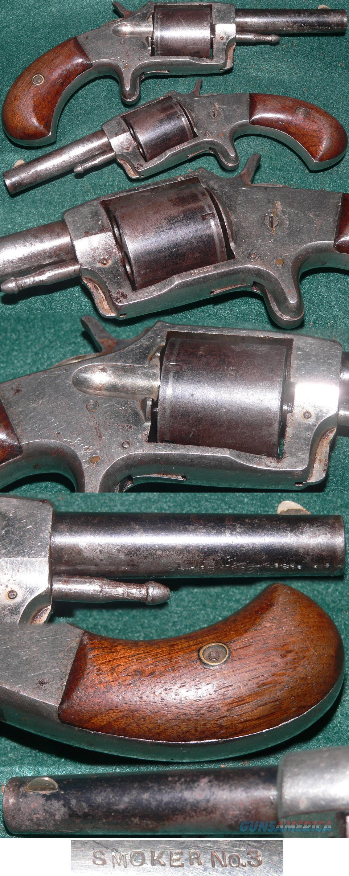 """Unusual """"Smoker No 3"""" 38 caliber revolver with nickel/blue bi-colored finish  Guns > Pistols > Antique (Pre-1899) Pistols - Ctg. Misc."""
