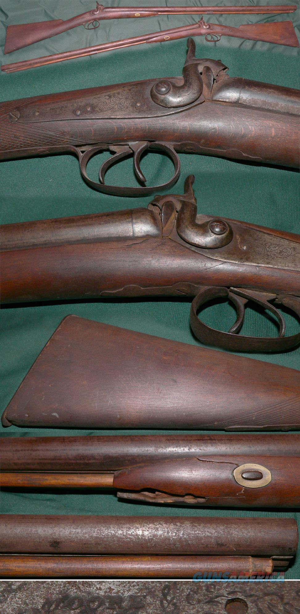 W.Moore London percussion double  Guns > Shotguns > Muzzleloading Pre-1899 Shotguns