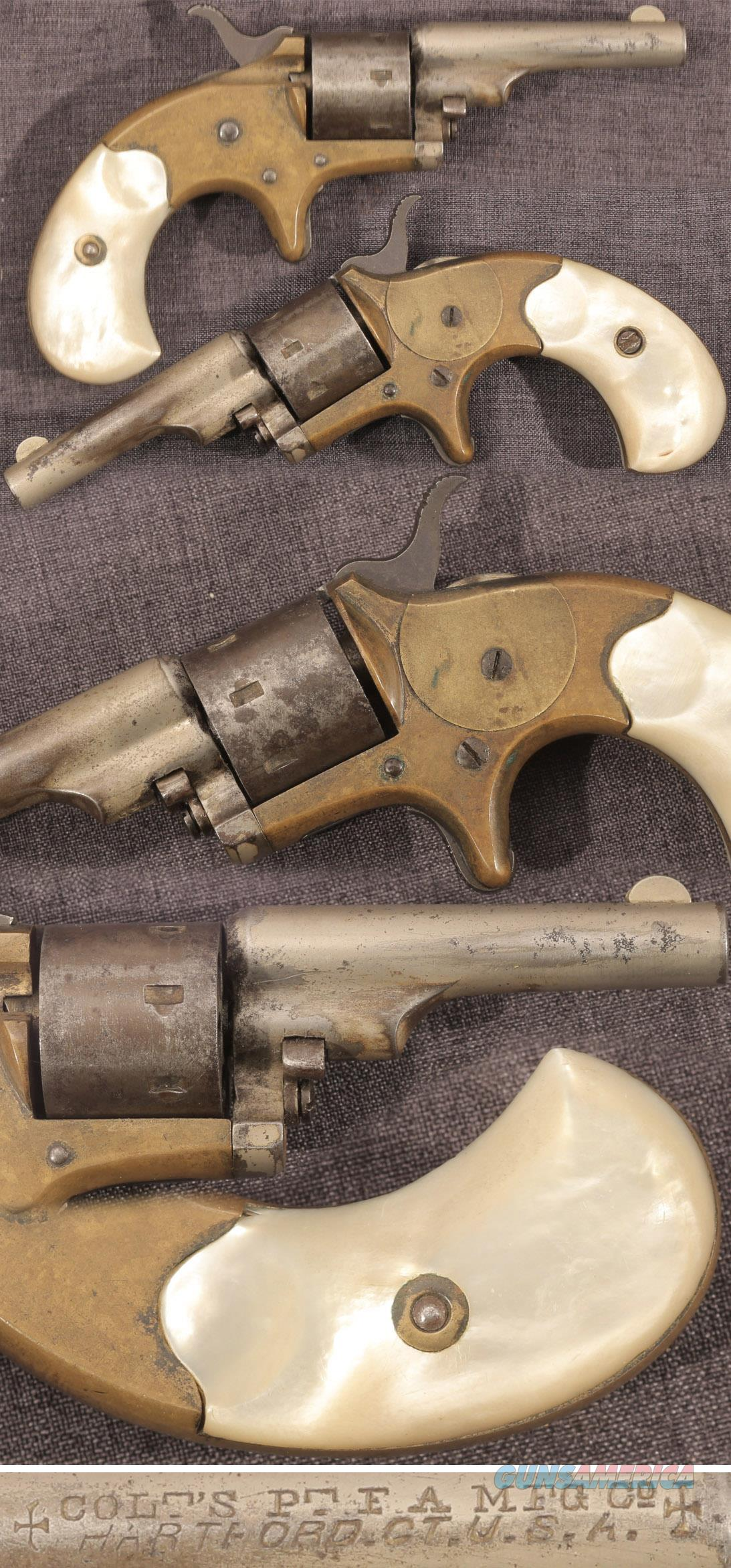 "Colt ""Open Top"" .22 caliber revolver with pearl grips  Guns > Pistols > Colt Single Action Revolvers - 1st Gen."