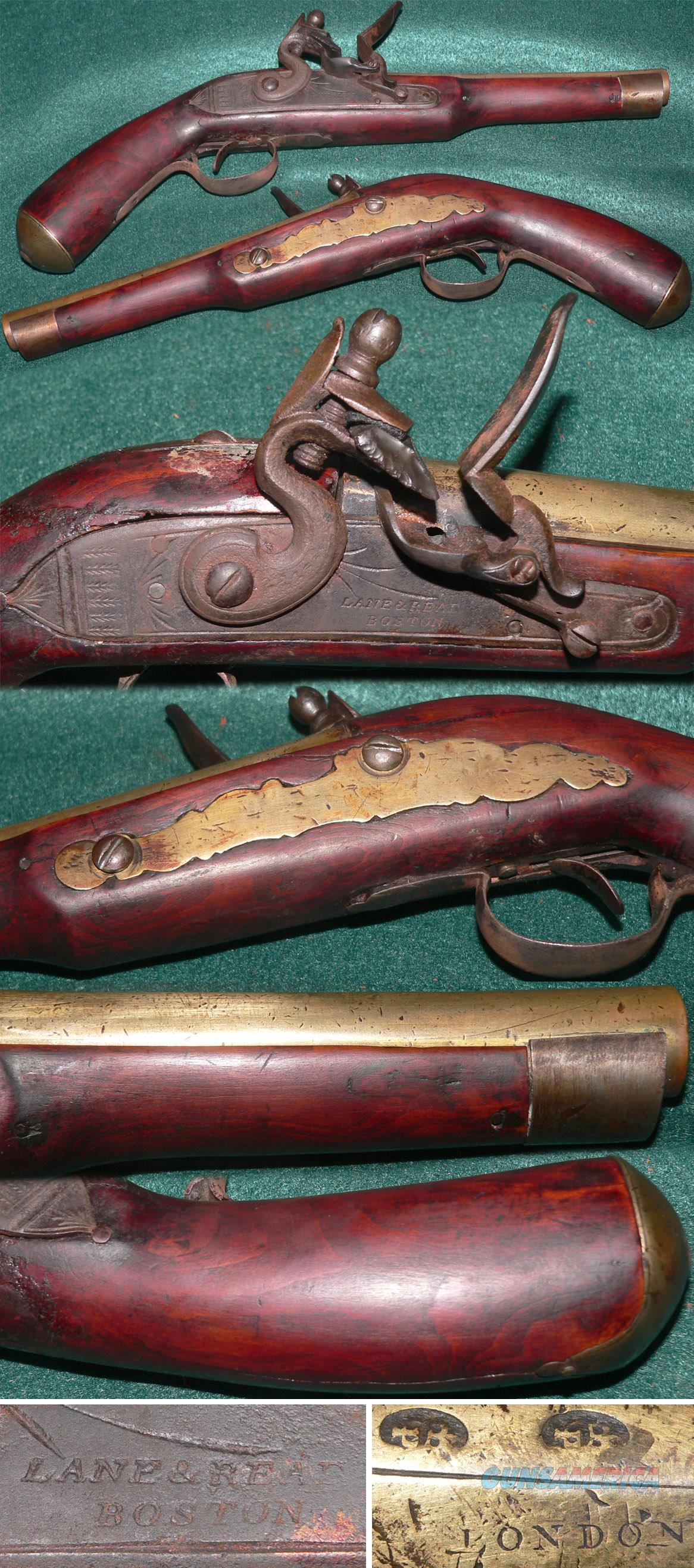 Flintlock reconversion belt pistol by Lane & Read, Boston  Guns > Pistols > Muzzleloading Pre-1899 Pistols (flint)