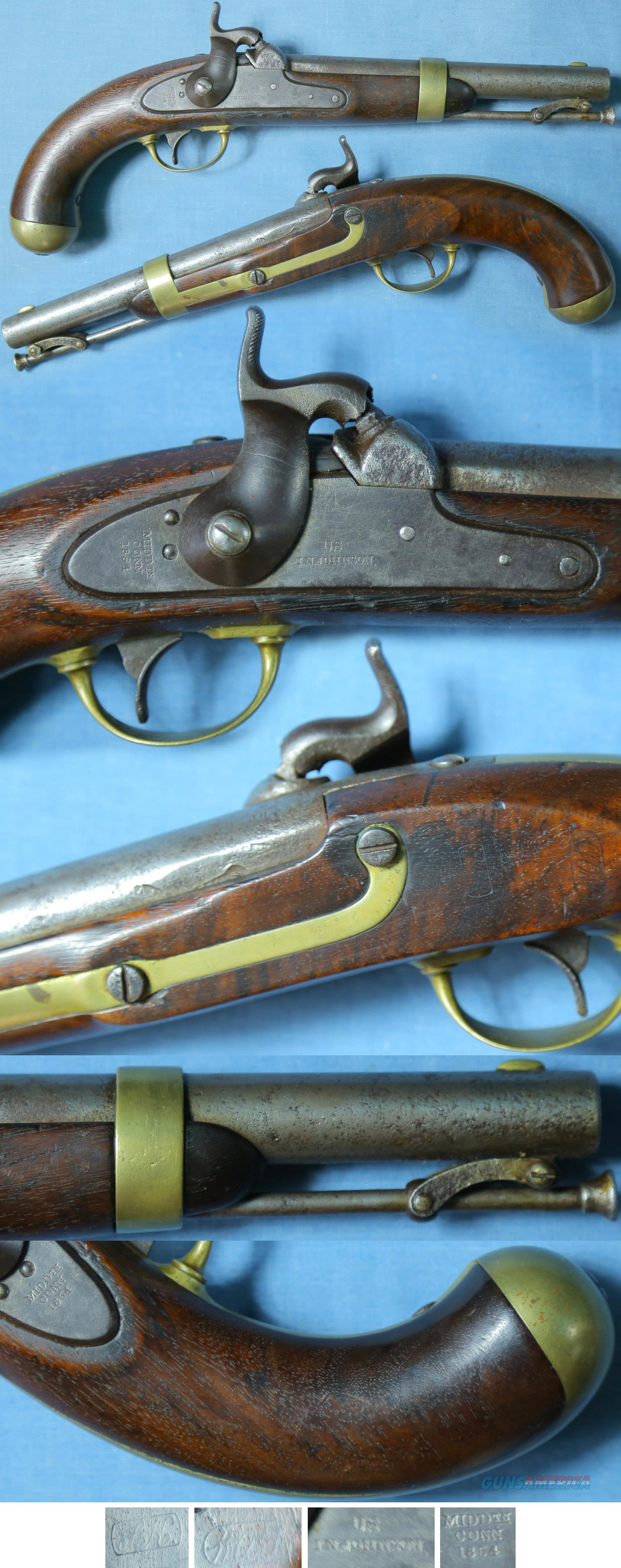 M1842 US Johnson percussion contract pistol dated 1854  Guns > Pistols > Muzzleloading Pre-1899 Pistols (perc)