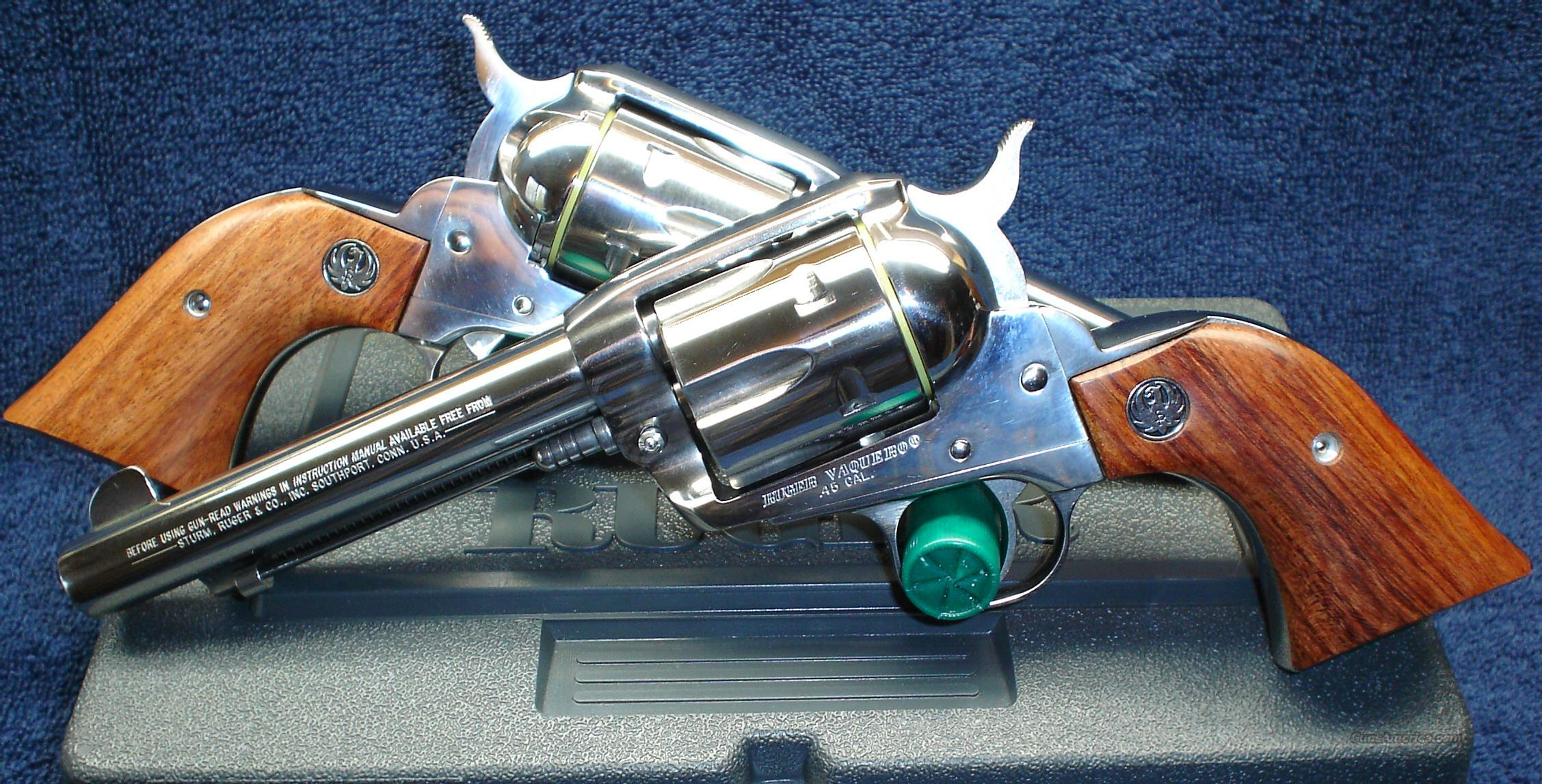 PAIR 44 Magnum/44 Special Bright Stainless Steel Ruger Vaqueros  Guns > Pistols > Ruger Single Action Revolvers > Cowboy Action