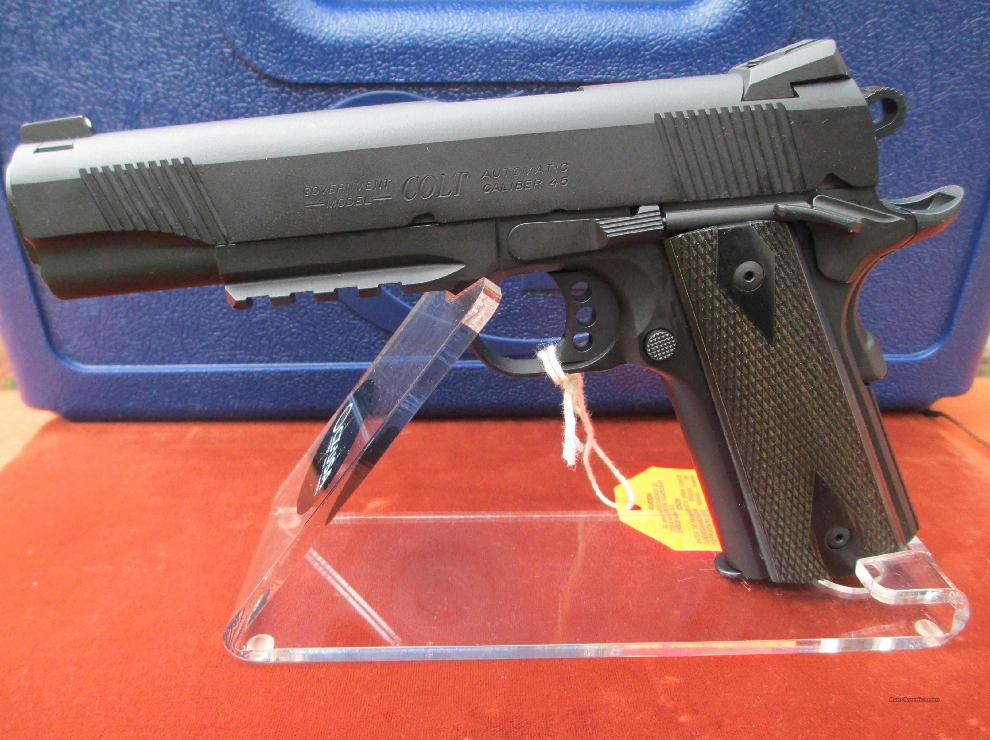 COLT BLACKENED S/S RAIL GUN MODEL # O1980RG   Guns > Pistols > Colt Automatic Pistols (1911 & Var)