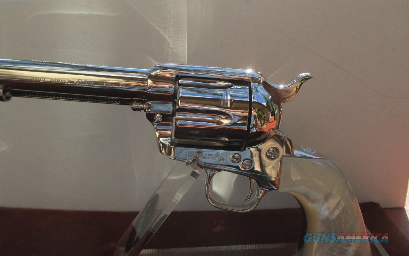 "COLT CUSTOM SHOP NICKEL SAA 5 1/2"" BARREL WITH PEARL GRIPS  Guns > Pistols > Colt Single Action Revolvers - 3rd Gen."