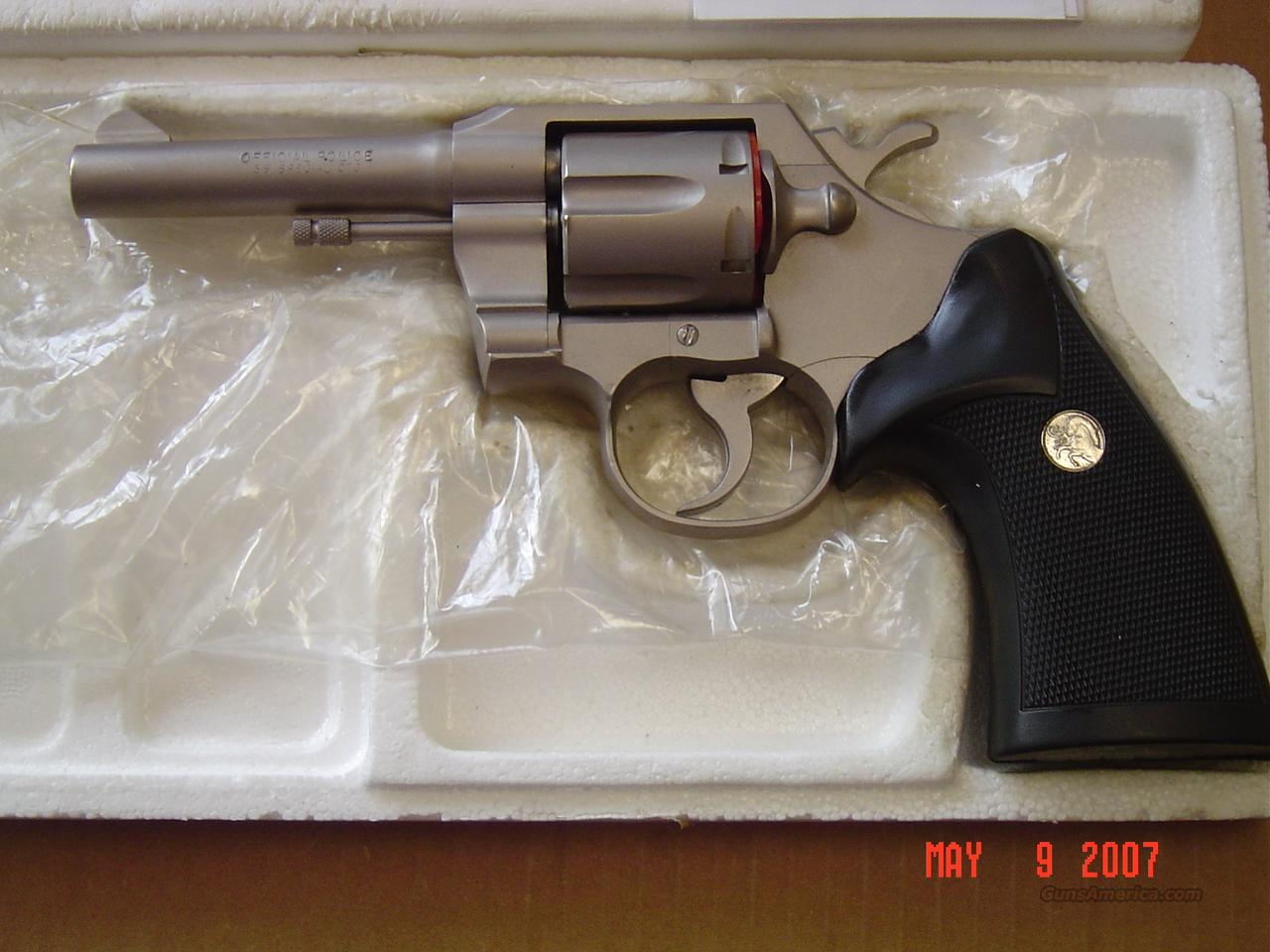 Colt Official Police E. Nickel  38 Special  Guns > Pistols > Colt Double Action Revolvers- Modern
