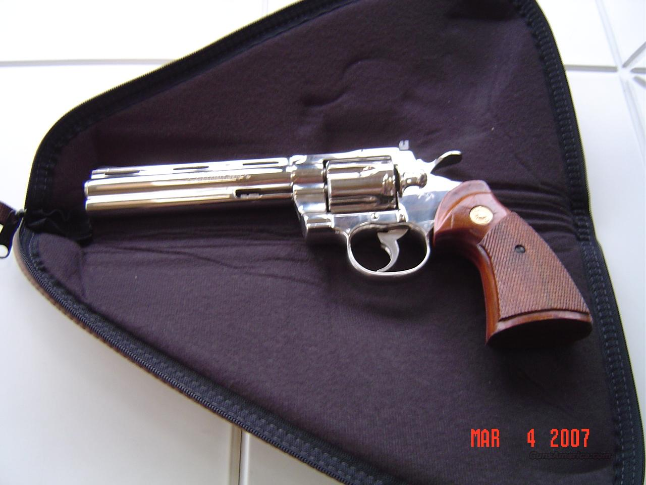 COLT 6 INCH NICKEL PYTHON   Guns > Pistols > Colt Double Action Revolvers- Modern