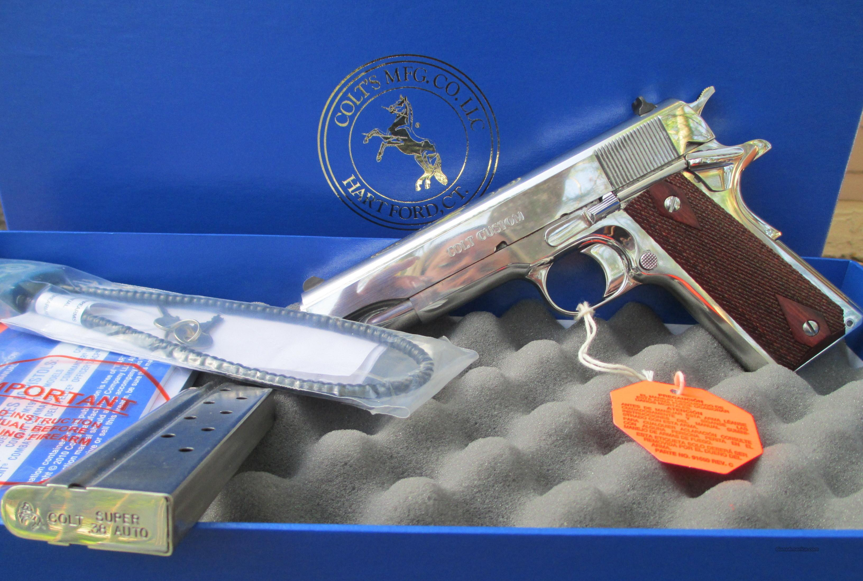 COLT BRIGHT STAINLESS STEEL 38 SUPER ELCEN PAIR IN SEQUENCE  Guns > Pistols > Colt Automatic Pistols (1911 & Var)