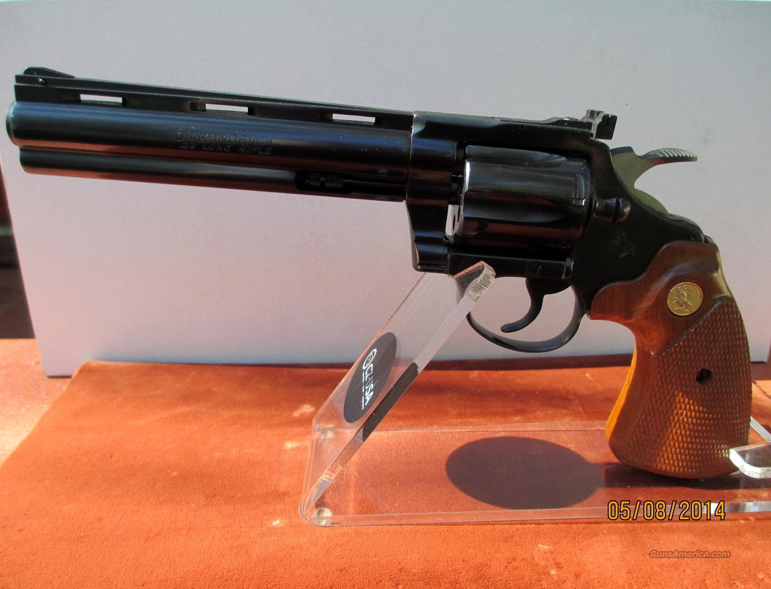 "COLT DIAMONDBACK BLUE IN 22LR WITH A 6"" BARREL  Guns > Pistols > Colt Double Action Revolvers- Modern"
