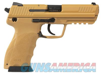 Heckler Koch HK45 Tan Frame & Slide (V1) DA/SA, safety/decocking lever on left, with two 10rd mags 745001BB-A5 FREE SHIPPING  Guns > Pistols > Heckler & Koch Pistols > Polymer Frame