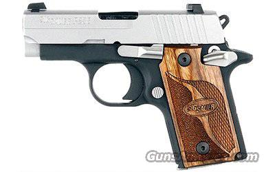 Sig Sauer P938 SAS, Two-Tone, Dehorning, SLITE Night Sights, Brown Goncalo Checkered Wood Grips, Ambi Safety ***Discontinued***  Guns > Pistols > Sig - Sauer/Sigarms Pistols > Other