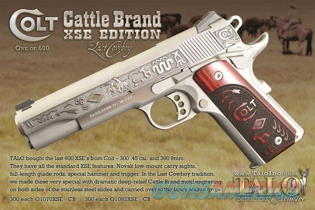 Colt 1911 Cattle Brand XSE .45 acp The Last Cowboy Talo Limited Edition O1070XSE-CB *NEW*  Guns > Pistols > Colt Automatic Pistols (1911 & Var)