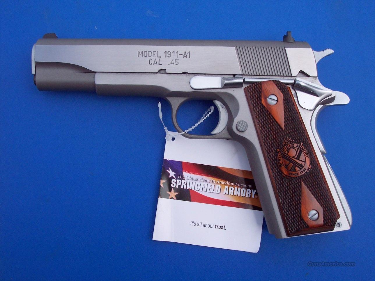 "Springfield Mil Spec Stainless 45 acp 5"" Government 1911 PB9151L  *NEW* PLUS - 4 Extra Mags, Holster and Mag Pouch  Guns > Pistols > Springfield Armory Pistols > 1911 Type"