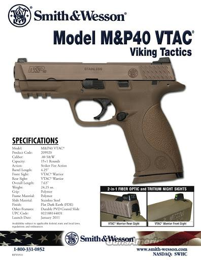 Smith & Wesson M&P VTAC 40 FDE Night Sights *NEW*  15 rd 209920  Guns > Pistols > Smith & Wesson Pistols - Autos > Polymer Frame