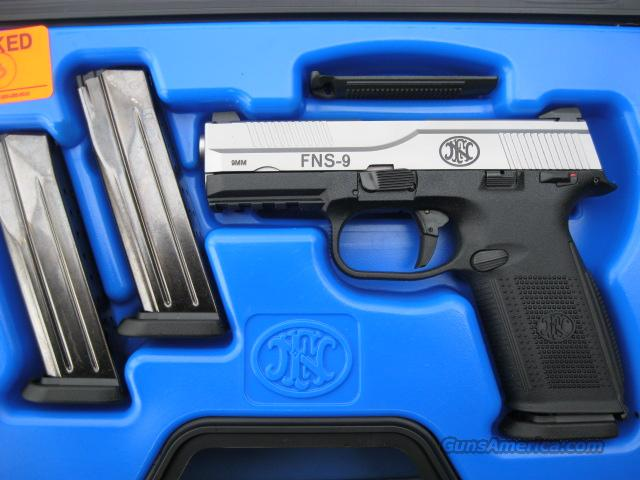 FNH FNS 9mm Stainless 2 Tone Trijicon 3 Mags *NEW*  Guns > Pistols > FNH - Fabrique Nationale (FN) Pistols > FNP
