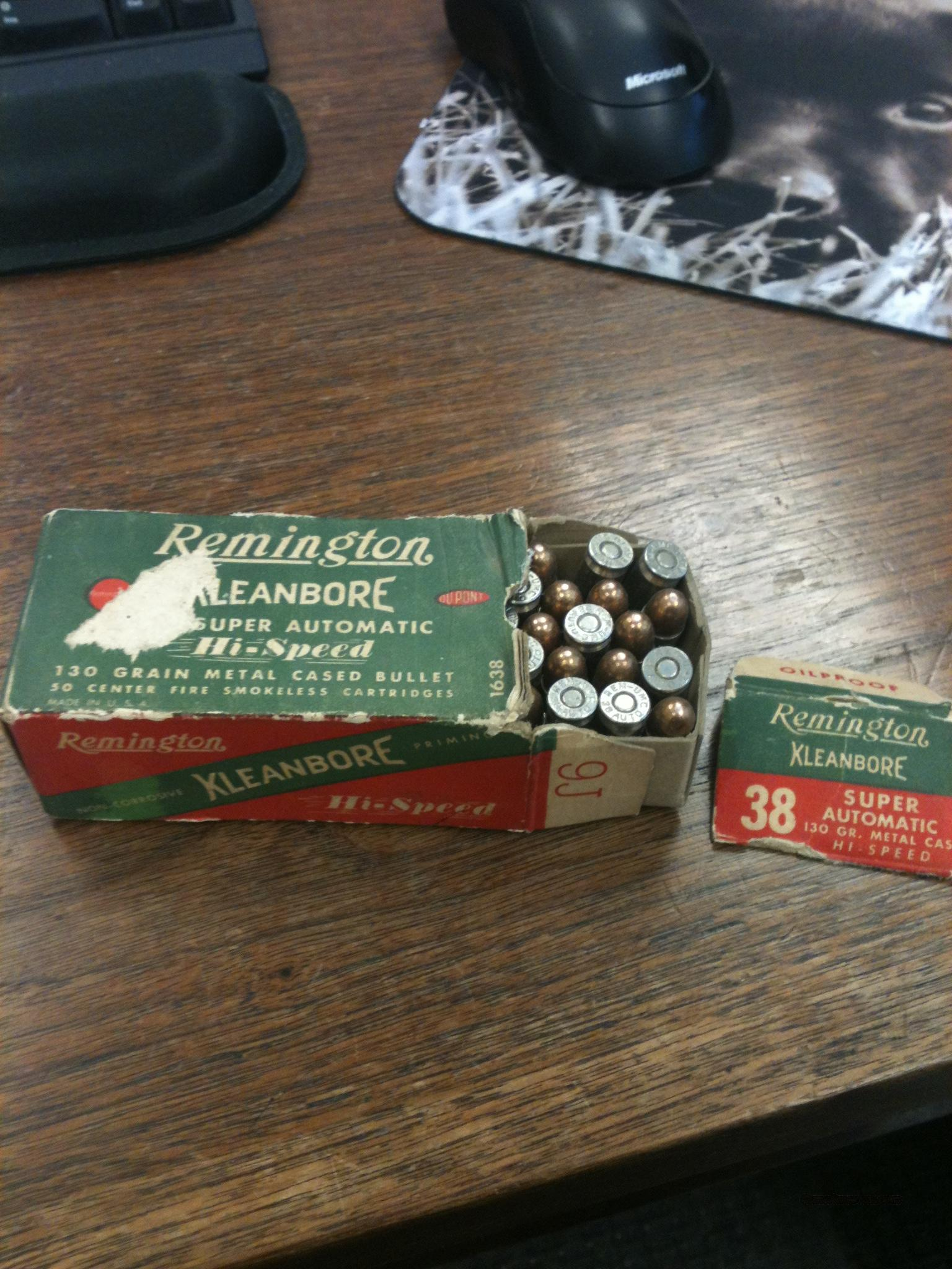 48 roudns of 38 auto ammuntion ammo Remington Kleanbore   Non-Guns > Ammunition