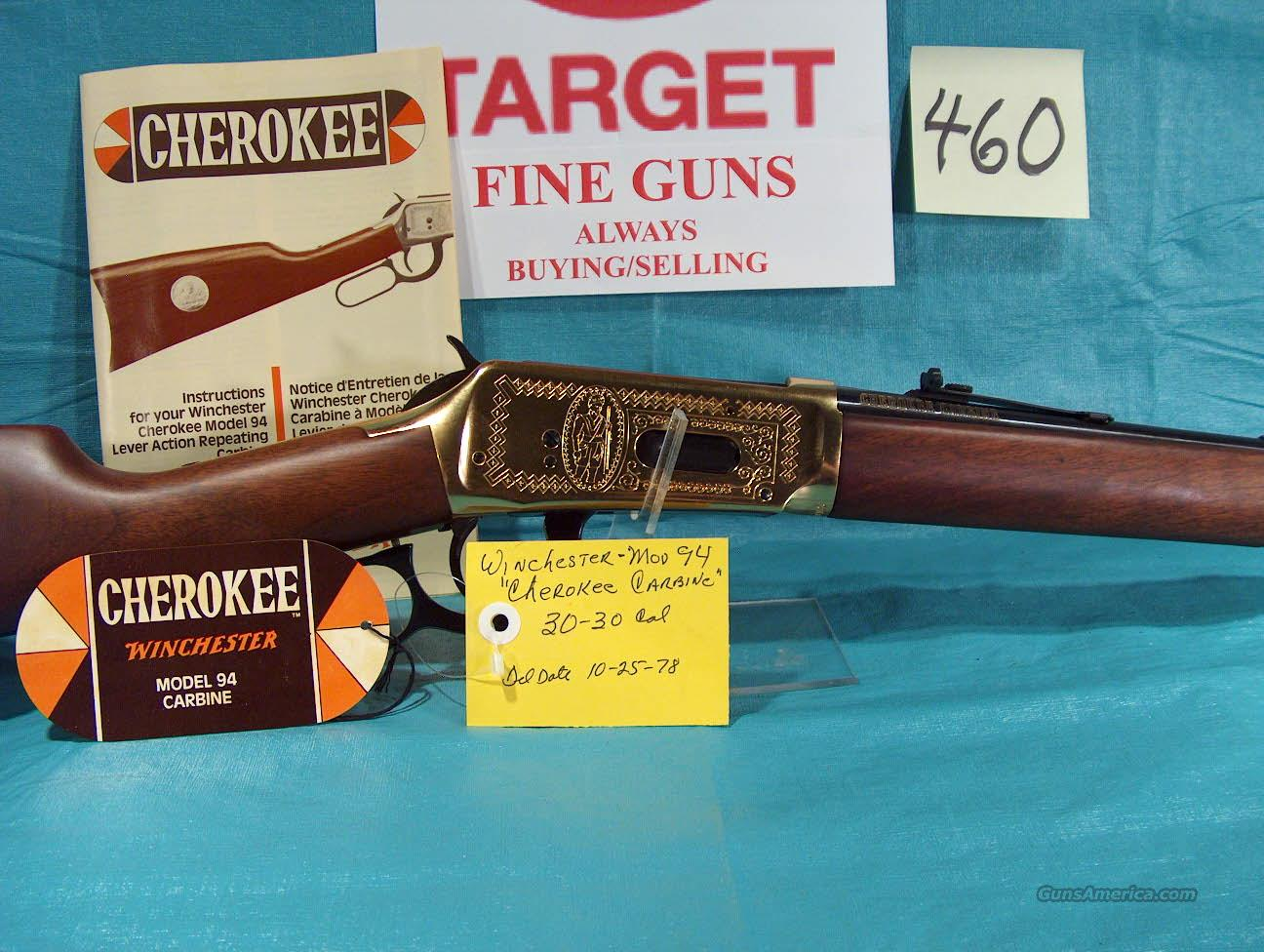 WINCHESTER MODEL 1894 CHEROKEE CARBINE  Guns > Rifles > Winchester Rifle Commemoratives