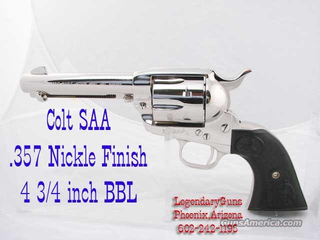 Colt SAA Bright Nickle .357  4 3/4 Inch BBL  Guns > Pistols > Colt Single Action Revolvers - 3rd Gen.