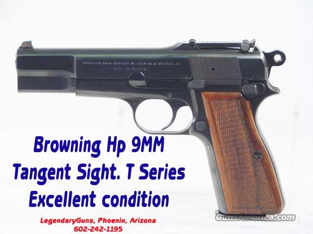 Browning HP 9mm  Adjustable  Tangent sights T Model  Guns > Pistols > Browning Pistols > High Power