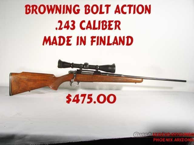 Browning,.243   Finland Mfg.  Guns > Rifles > Browning Rifles > Bolt Action > Hunting > Blue