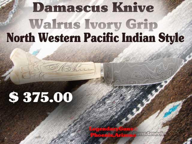Damascus Blade Walrus Ivory Grip  Non-Guns > Knives/Swords > Knives > Fixed Blade > Hand Made