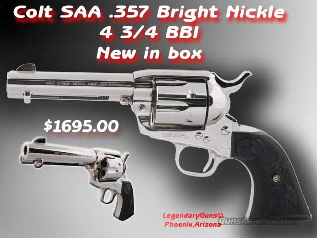 Colt SAA 4 3/4 .357 Nickle NIB  Guns > Pistols > Colt Single Action Revolvers - 3rd Gen.