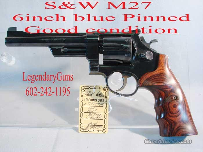 S&W M-27 6 inch blue pinned  Guns > Pistols > Smith & Wesson Revolvers > Full Frame Revolver