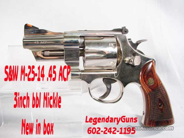 S&W M-25-14 3inch Nickle .45acp  Guns > Pistols > Smith & Wesson Revolvers > Full Frame Revolver