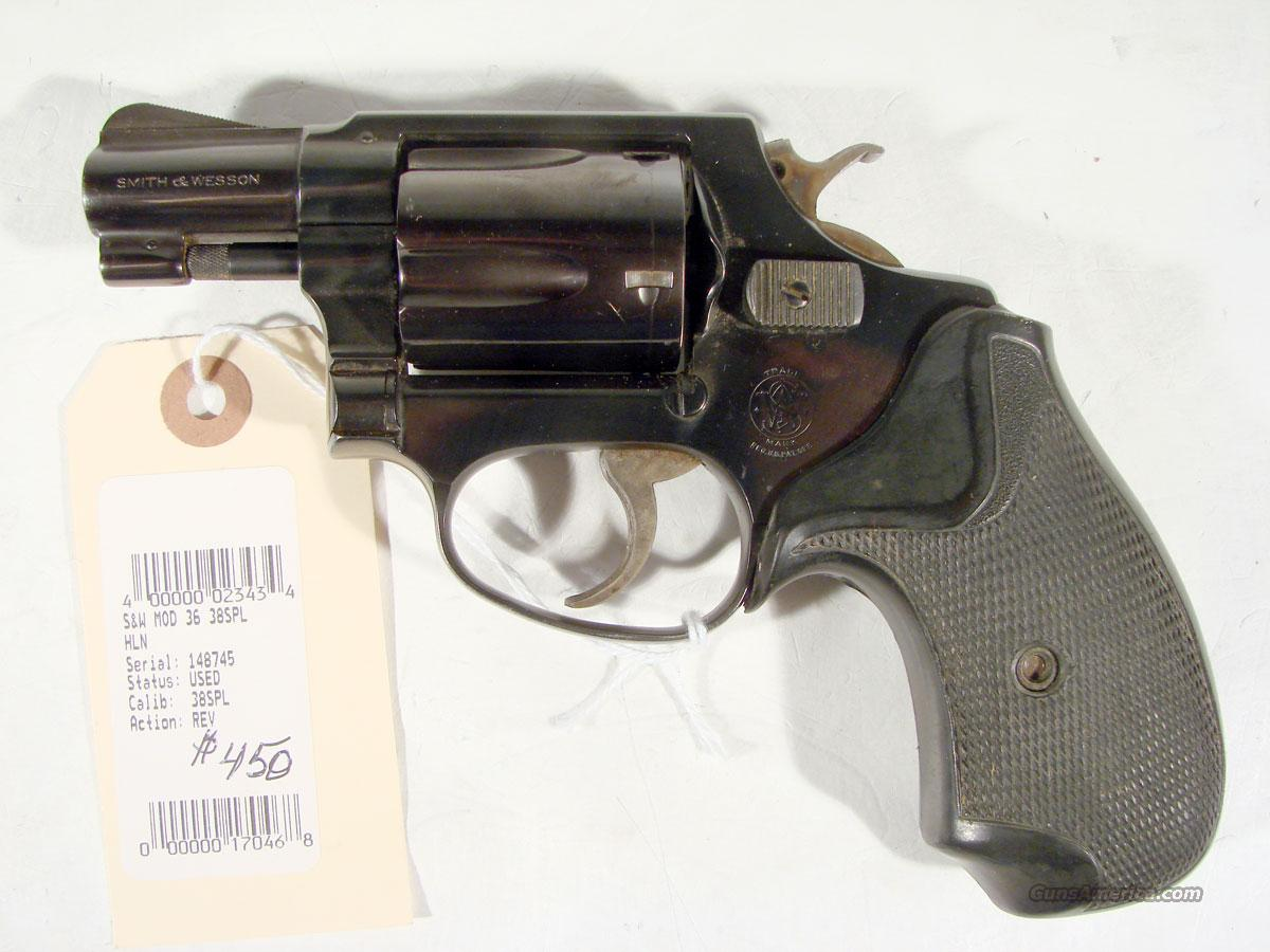 S&W Model 36 Pinned barrel .38 SPL, Flat latch   Guns > Pistols > Smith & Wesson Revolvers > Pocket Pistols
