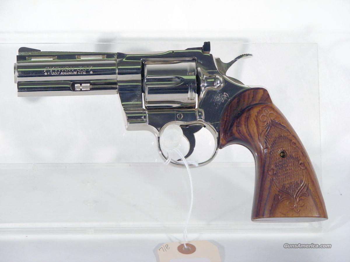 "Colt ""Python"" 4 inch Nickel finish  Guns > Pistols > Colt Double Action Revolvers- Modern"