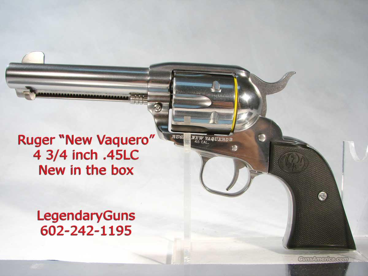 Ruger New Vaquero .45 4 3/4 Stainless  Guns > Pistols > Ruger Single Action Revolvers > Cowboy Action