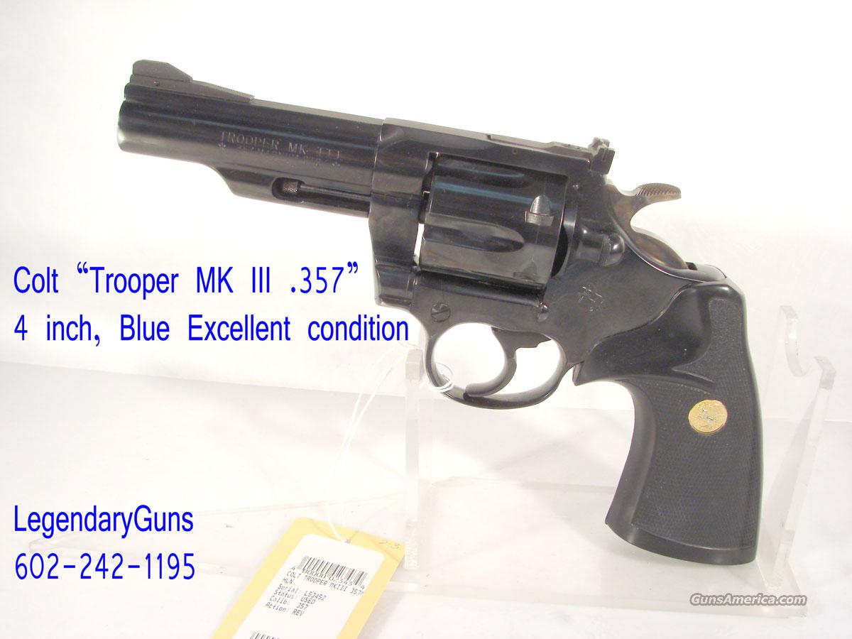 "Colt ""Trooper MK III .357 4 inch blue  Guns > Pistols > Colt Double Action Revolvers- Modern"