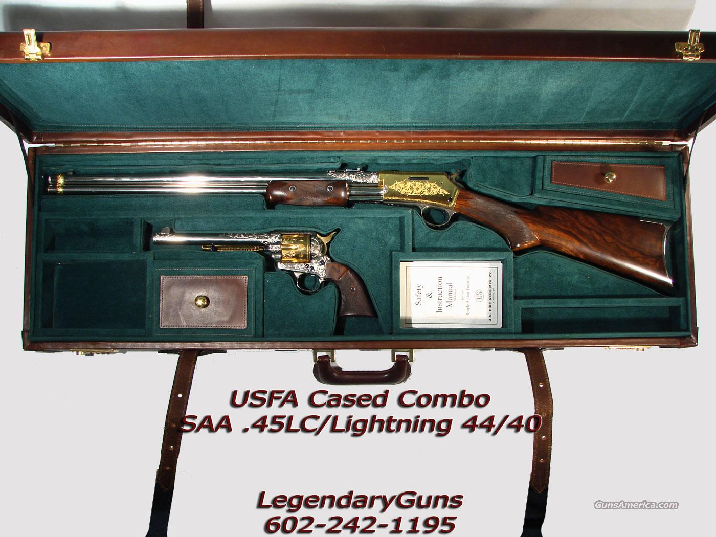 USFA Combo Collector set, Engraved Gold and Stainless,  Guns > Pistols > United States Patent Firearms Revolvers/Pistols
