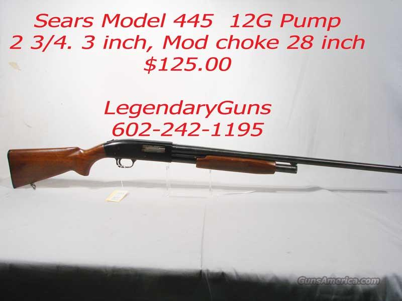 Sear Model 446 12 G  2 3/4 / 3 inch Pump  Guns > Shotguns > S Misc Shotguns