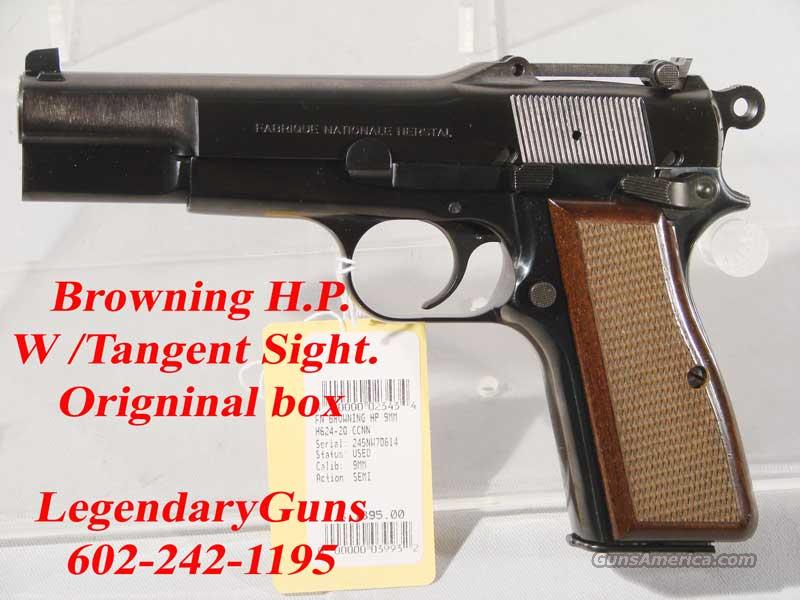 Browning Hi Power, 9mm Tangent Sight  Guns > Pistols > FNH - Fabrique Nationale (FN) Pistols > High Power Type
