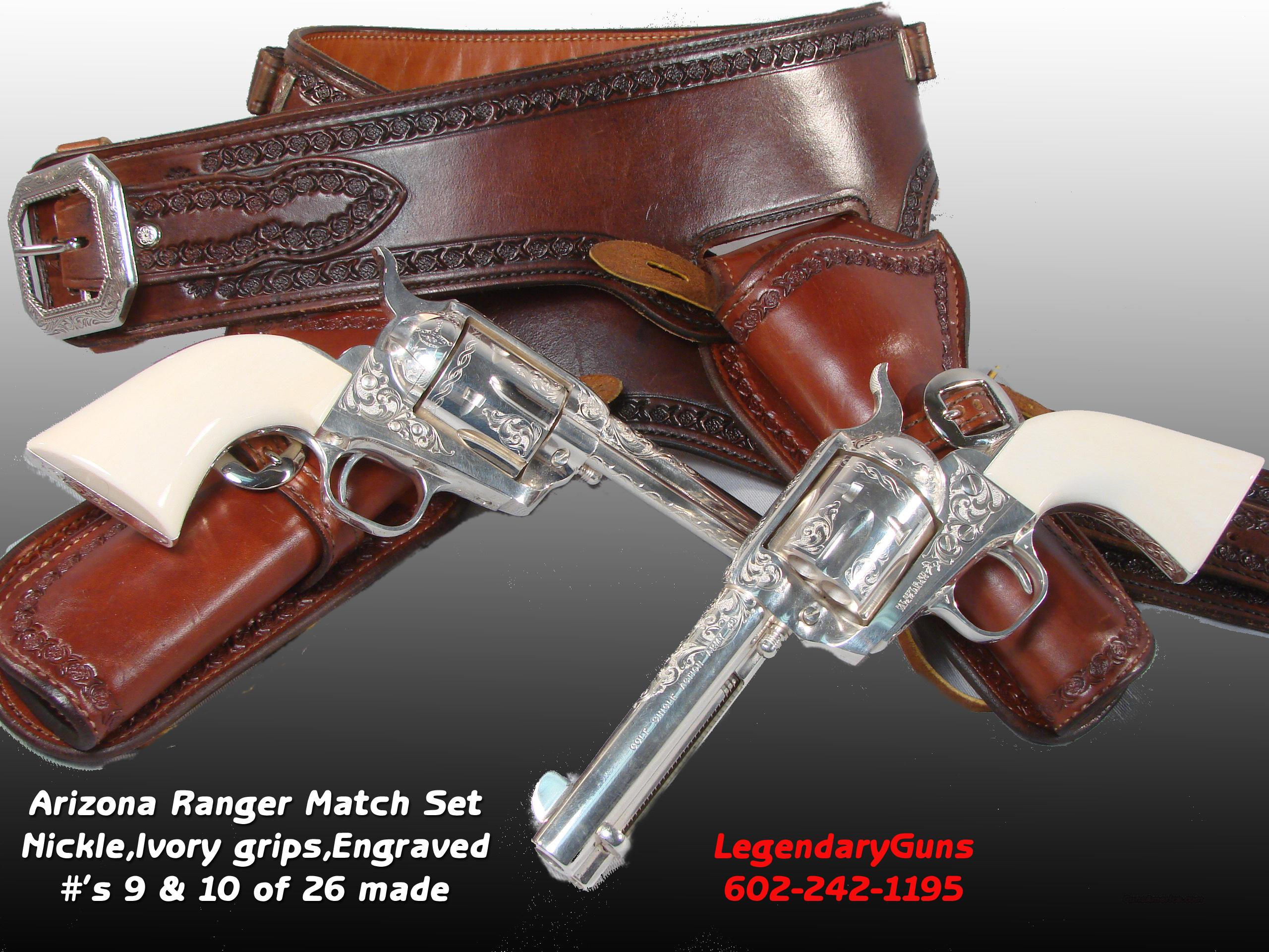 Arizona Rangers Match Set .45 SilverPlated  engraved  Guns > Pistols > Colt Single Action Revolvers - 3rd Gen.