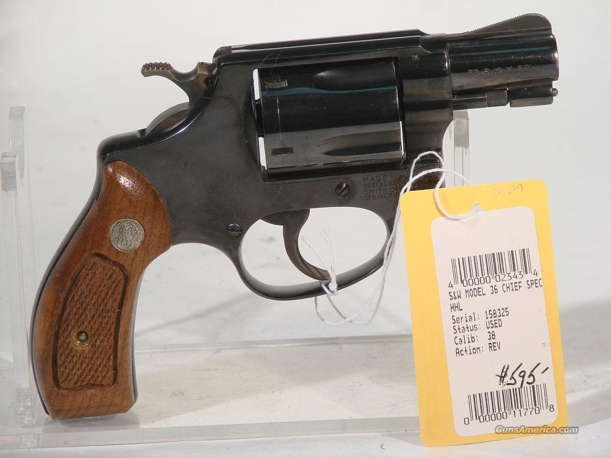 S&W Model 36 (no-number) .38 Chief Spl, Flat latch.  Guns > Pistols > Smith & Wesson Revolvers > Pocket Pistols