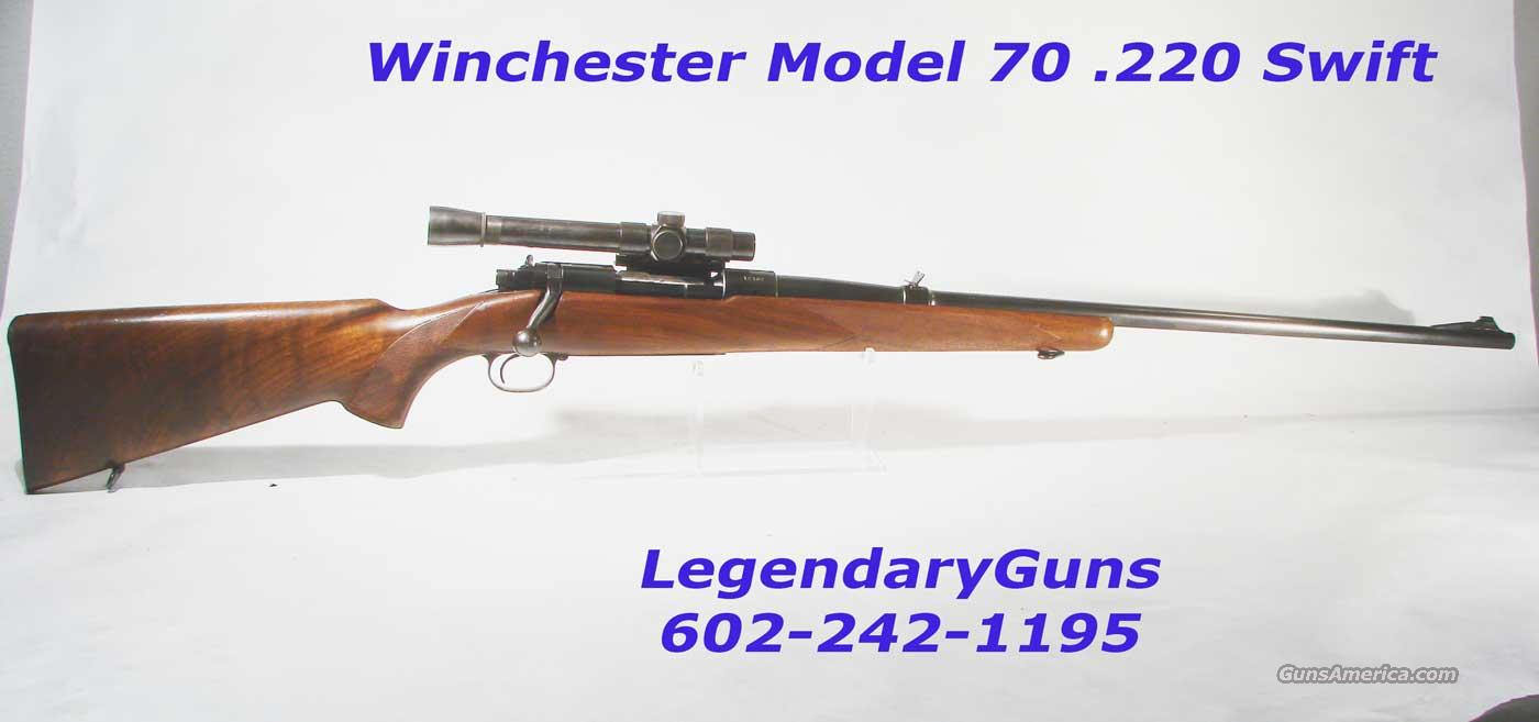 Winchester Model 70 Pre-64 .220Swift  Old style Scope  Guns > Rifles > Winchester Rifles - Modern Bolt/Auto/Single > Model 70 > Pre-64
